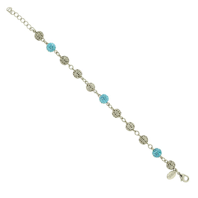 Light Blue Silver Tone Fireball And Filigree Beaded Bracelet