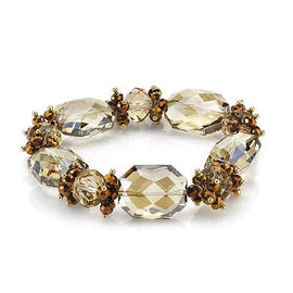Fashion Jewelry - 2028 Sparkle Illuminations Gold-Tone Light Topaz-Colored Beaded Stretch Bracelet
