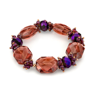 Copper Tone Amethyst Purple Color Beaded Stretch Bracelet