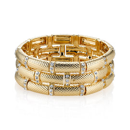 Fashion Jewelry - 2028 Gold Elegance Gold-Tone Crystal Stretch Bracelet
