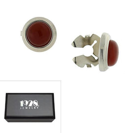 Silver Tone Genuine Semi Precious Red Carnelian Faux Cuff Links