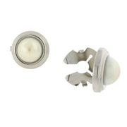 Silver Tone White Costume Pearl Round Button Covers