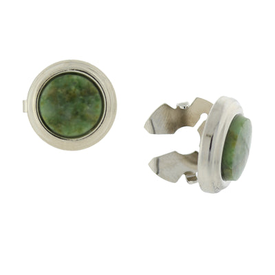 Silver Tone Genuine Semi Precious Stone Round Button Covers