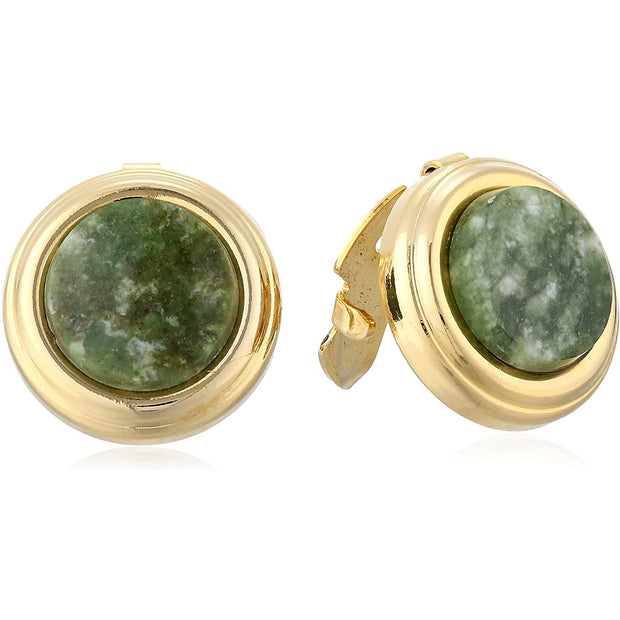 14K Gold-Dipped Semi Precious Button Cover Green Aventurine