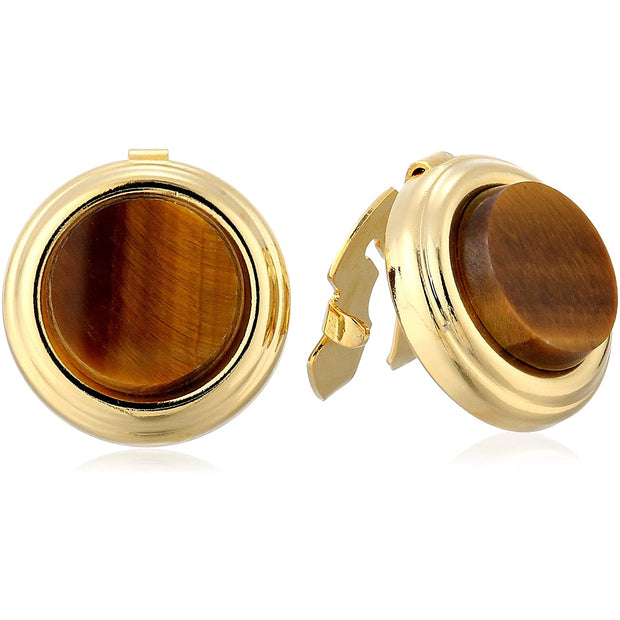 14K Gold-Dipped Semi Precious Button Cover Tigers Eye