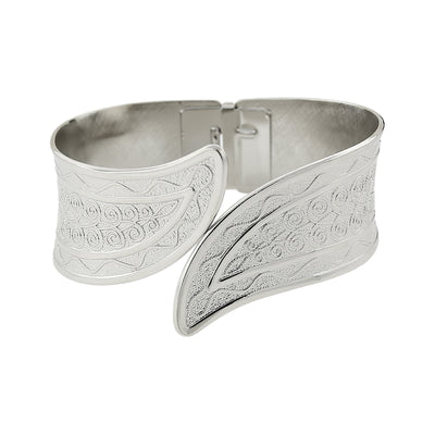 Silver Tone Hinged Cuff Bracelet