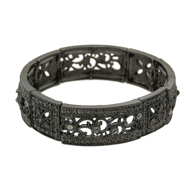 Black Tone Black Diamond Square Filigree Stretch Bracelet