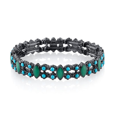 Black-Tone Turquoise Stretch Bracelet
