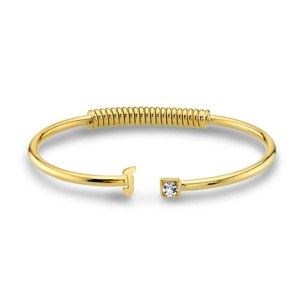 14K Gold-Dipped Initial and Clear Crystal Accent Cuff Bracelets J
