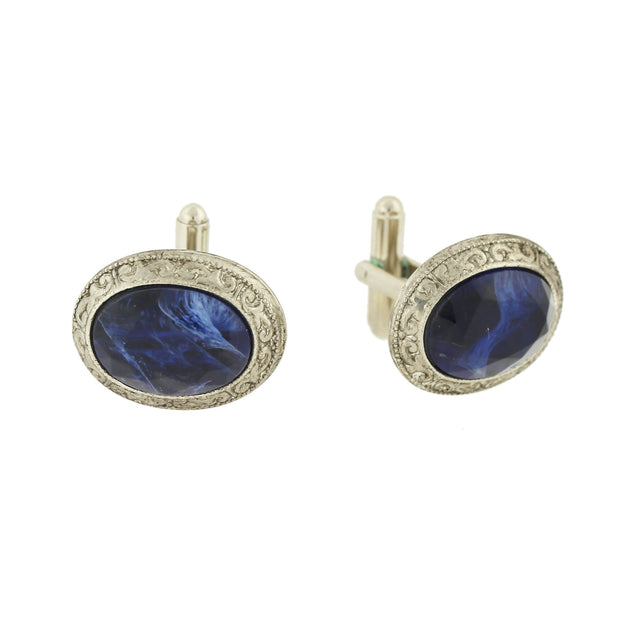 Silver-Tone Blue Faceted Oval Cuff Links
