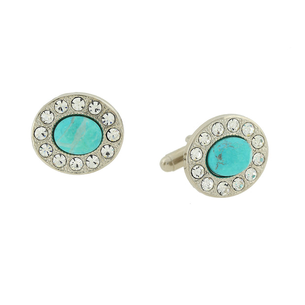 Silver Tone Clear Crystals Faceted Turquoise Oval Cuff Links