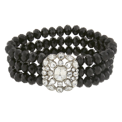 Black Beaded Stretch Bracelet With Silver Tone Clear Crystals