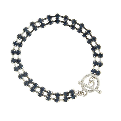 Silver-Tone Dark Blue 2-Row Rhinestone Toggle Bracelet