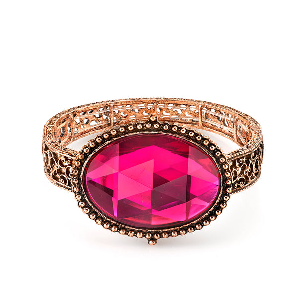 Brass Tone Fuchsia Oval Faceted Filigree Stretch Bracelet