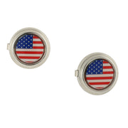 Silver Tone Red White And Blue Flag Decal Button Cover