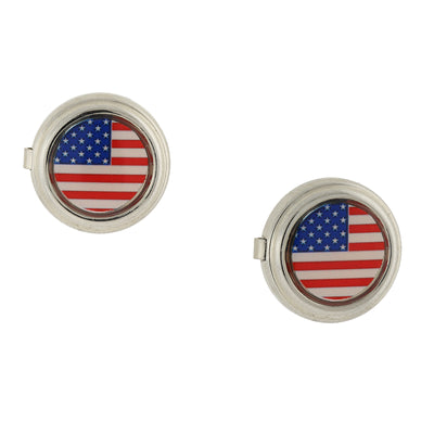 Silver-Tone Red White And Blue Flag Decal Button Cover