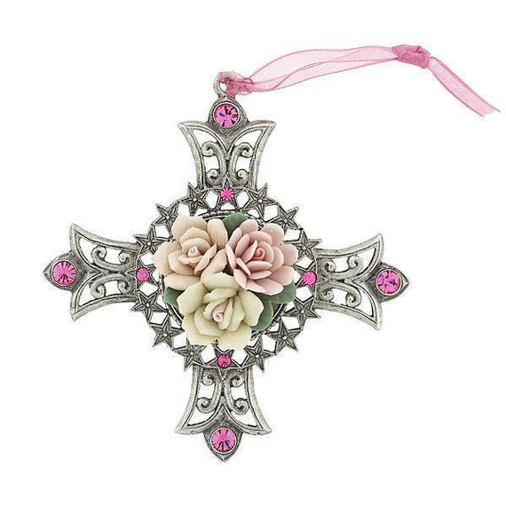 Silver-Tone Porcelain Rose Cross Ornament with Pink Crystal Accents