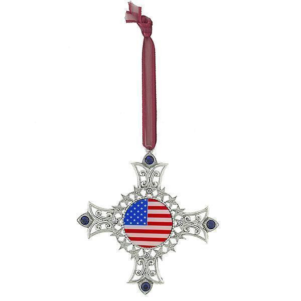 Silver Tone American Flag Decal Cross Ornament With Blue Crystal Accents