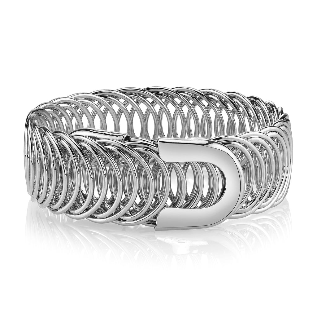 Silver tone stretch Belt Bracelet