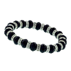 Silver-Tone Black Beaded and Crystal Stretch Bracelet