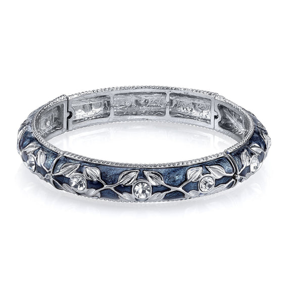 Silver-tone Blue Enamel and Crystal Accent Stretch Bracelet