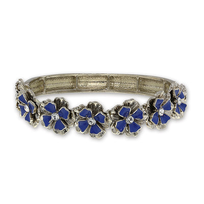 Silver Tone Blue Enamel W/ Crystal Accent Flower Stretch Bracelet