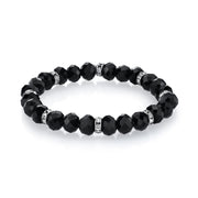 Silver-Tone Black Beaded Stretch Bracelet