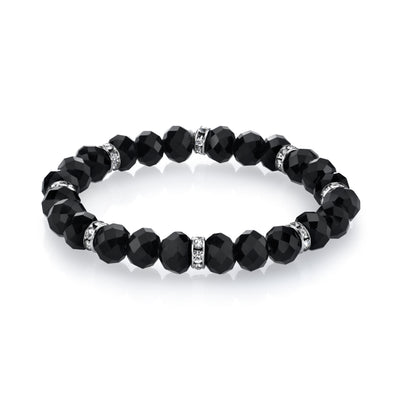 Silver Tone Black Beaded Stretch Bracelet