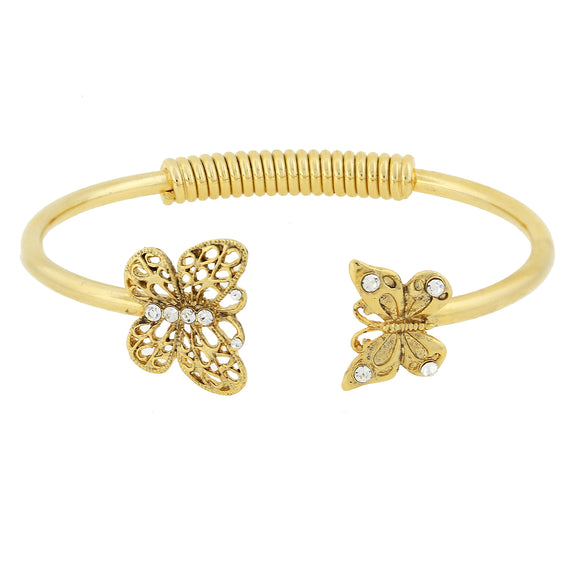 Fashion Jewelry - Gold-Tone and Crystal Accent Butterfly Spring-Hinge Cuff Bracelet