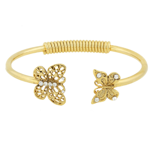 Gold-Tone and Crystal Accent Butterfly Spring-Hinge Cuff Bracelet
