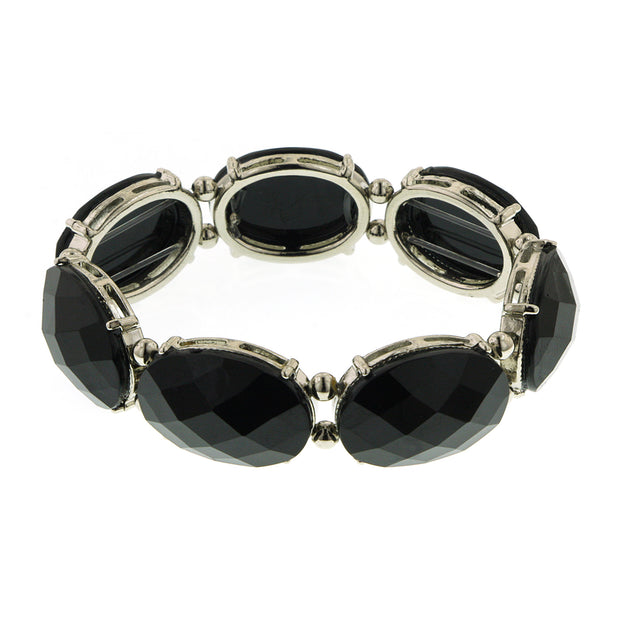 Silver-Tone Black Oval Faceted Stretch Bracelet