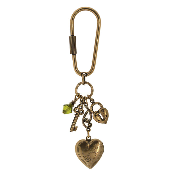 Gold Tone Green Crystal Bead Heart Locket Key Fob