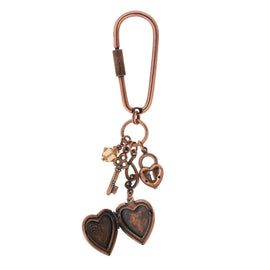 Copper-Tone Yellow Crystal Heart Locket Key Fob