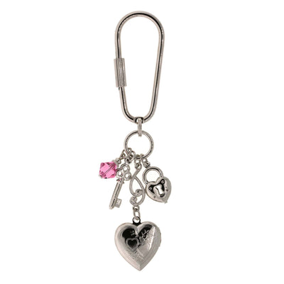 Silver-Tone Pink Crystal Bead Heart Locket Key Fob
