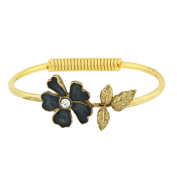 Gold Tone Enamel Flower And Crystal Accent Spring Hinge Cuff Bracelet