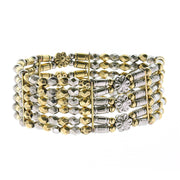 2028 Jewelry Silver-Tone 6-Row Brass Floral Stretch Bracelet