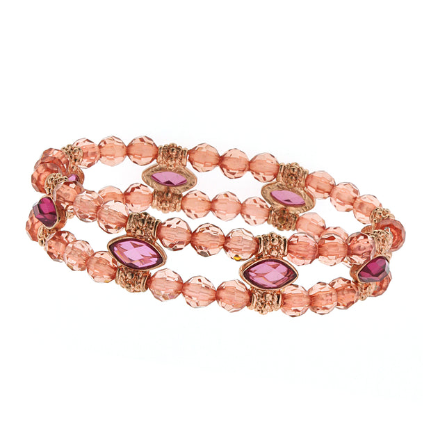 Copper Tone Pink Beaded Stretch Bracelet