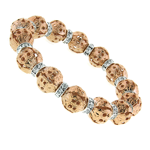 Rose Gold Tone With Crystal Rondelle Stretch Bracelet