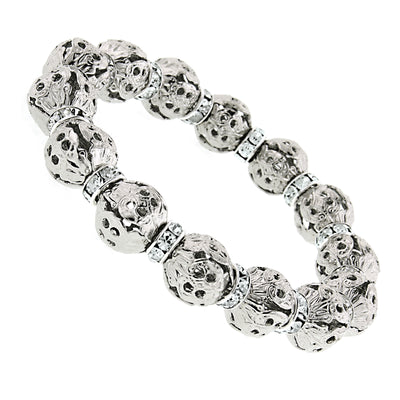 Silver-Tone with Crystal Rondelle Stretch Bracelet
