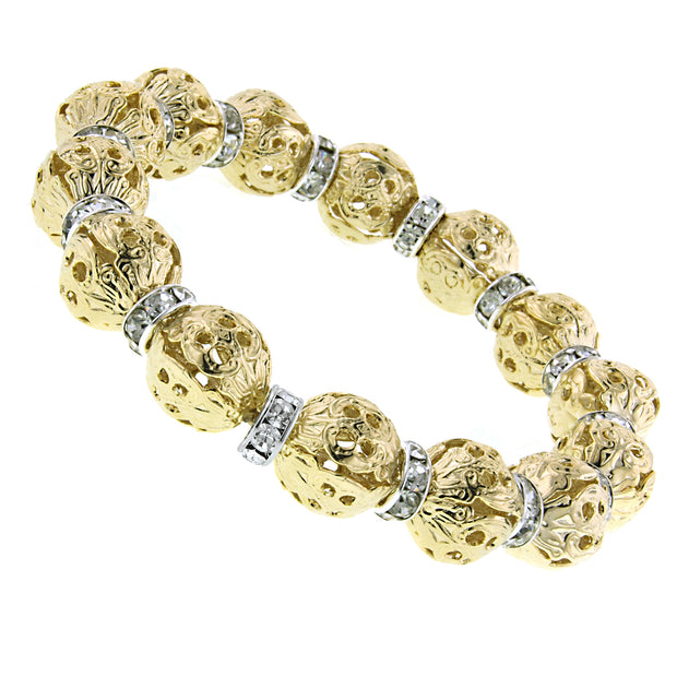 Gold-Tone With Crystal Rondelle Stretch Bracelet