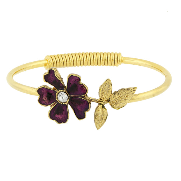 Gold Tone Enamel Flower And Crystal Accent Spring Cuff Bracelet