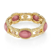 Gold Tone Oval Pink Moonstone Stretch Bracelet
