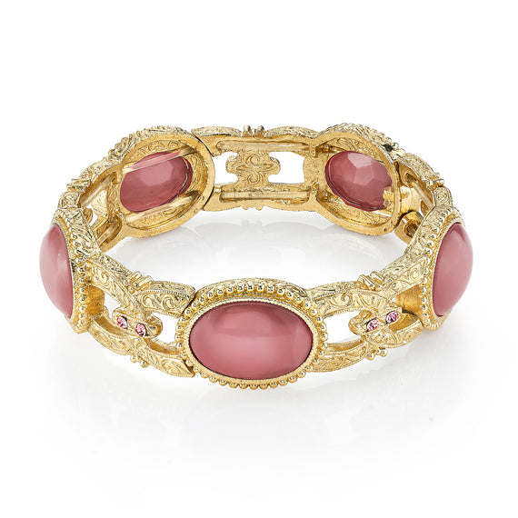 Gold Tone Pink Moonstone Stretch Bracelet