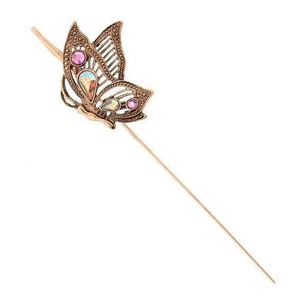 Crystal Butterfly Bookmark Pink