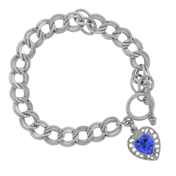 Silver Sapphire Swarovski Crystal Elements Heart Toggle Bracelet