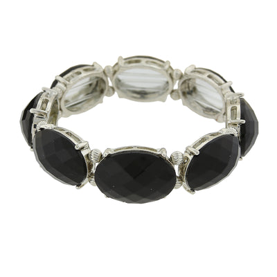 Silver Tone Black Opaque Oval Faceted Stretch Bracelet
