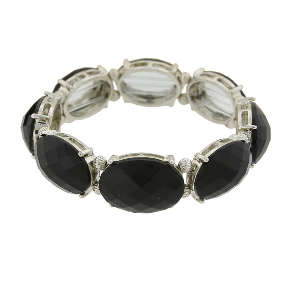 Fashion Jewelry - 2028 Silver-Tone Jet Black Oval Faceted Stretch Bracelet