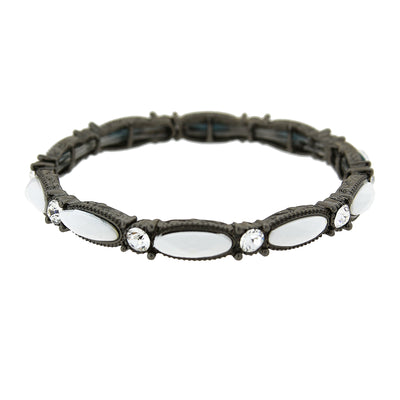 Black-Tone White Opaque w/ Crystal Accent Stretch Bracelet