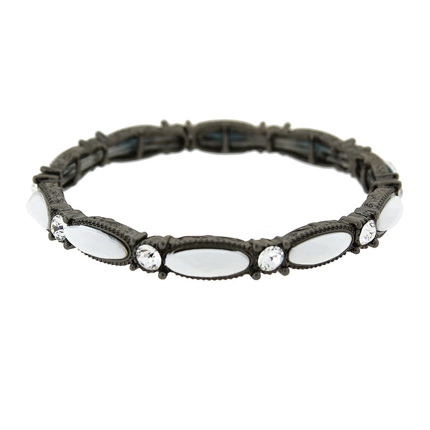 Black Tone White Opaque W/ Crystal Accent Stretch Bracelet