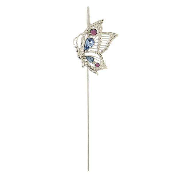 Silver-Tone Blue and Purple Crystal Butterfly Bookmark